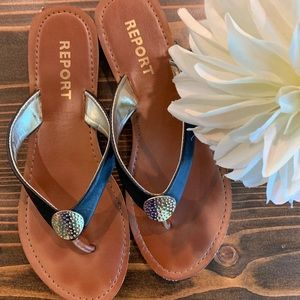 Report Shoes - Report Leather Flip Flops
